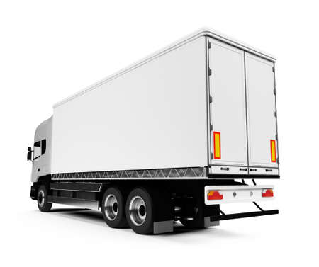 white semi truck on a white background