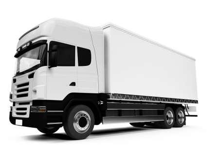 white semi truck on a white background Stock Photo - 3704243