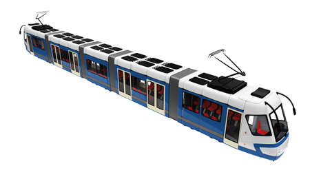tramcar: isolated long tramway on a white background
