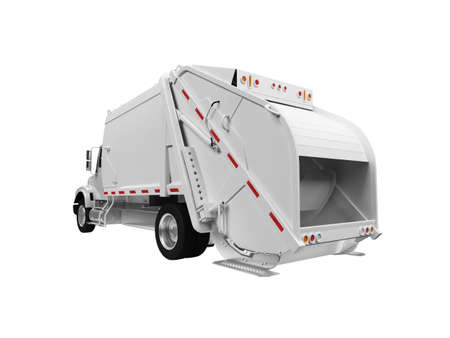 worksite: isolated white trash truck on a white background Stock Photo