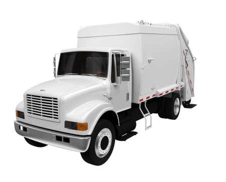 aislados de camiones de basura de color blanco sobre un fondo blanco