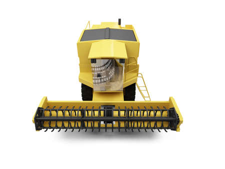 combine: isolated combine harvester on a white background Stock Photo
