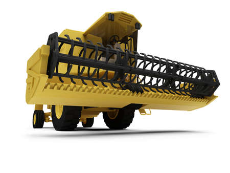 combine harvester: isolated combine harvester on a white background Stock Photo