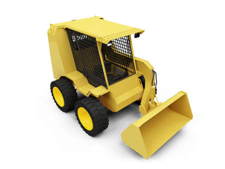 earthmoving: isolated skid steer loader on a white background