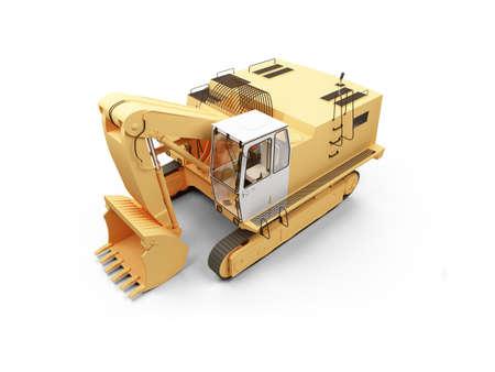 dredger: isolated steam shovel bulldozer on a white background