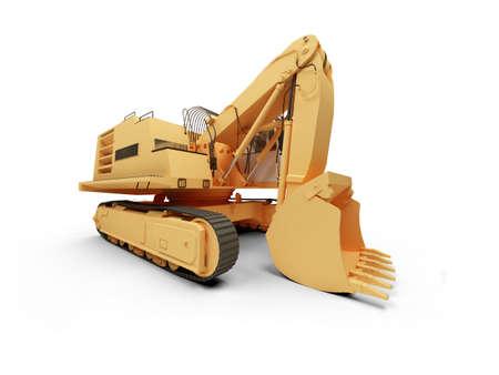 earthmoving: isolated steam shovel bulldozer on a white background
