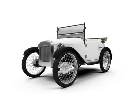 antique car: isolated white Old fashioned retro car over white