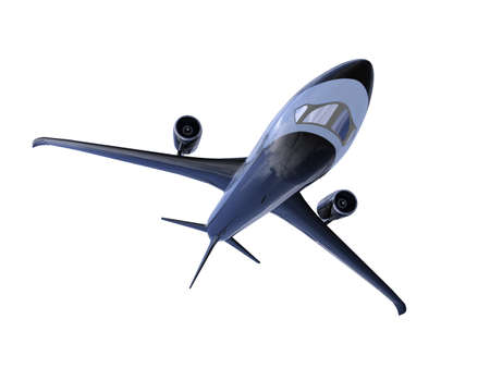 airborne vehicle: isolated black airplane over white background Stock Photo
