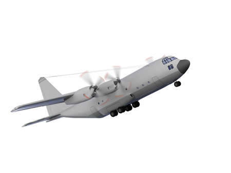 airborne vehicle: isolated military airplane over white background Stock Photo
