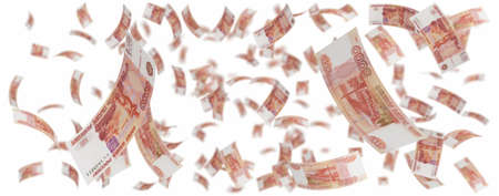 cash flows: isolated five thousand rubles rain over white