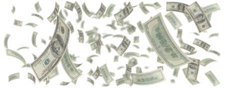cash flows: isolated One hundred dollar rain over white Stock Photo