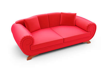 isolated red sofa on a white background photo