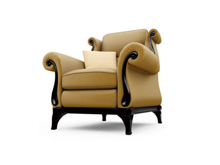 isolated classic armchair against white background photo