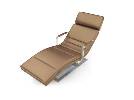 chaise lounge: Isolated chaise lounge against white background Stock Photo