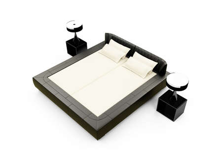 double bed: isolated double bed against white background Stock Photo