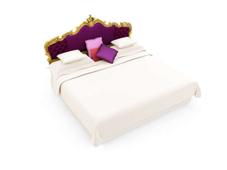 isolated Classic Bed over a white background photo