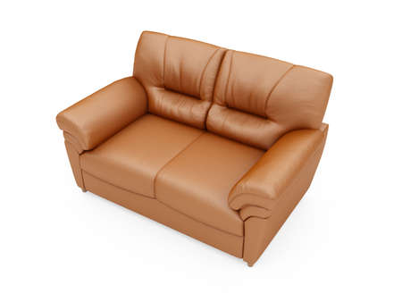 isolated brown sofa over white background