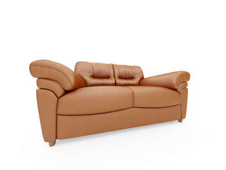 isolated brown sofa over white background photo