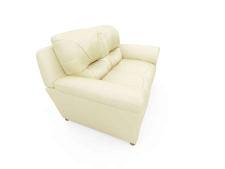 isolated beige sofa over white background Stock Photo - 5013676