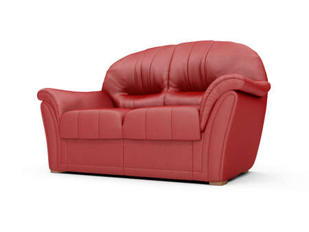 isolated red sofa over white background Stock Photo - 5013604