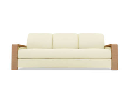 isolated beige sofa over white background Stock Photo - 5013635