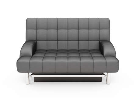 isolated black sofa over white background Stock Photo - 5013729