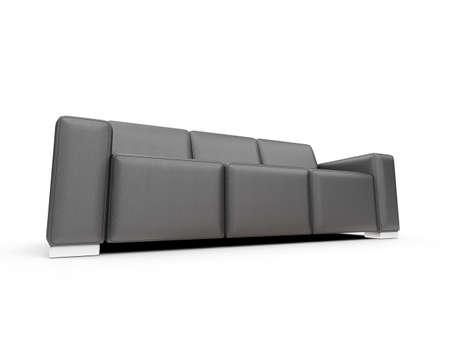 isolated black sofa over white background photo