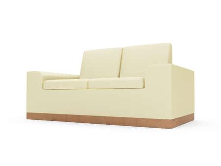 isolated beige sofa over white background photo