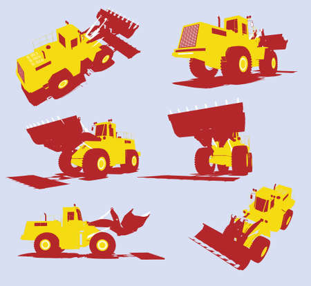 dredge to dig: Isolated Vector heavy utility trucks