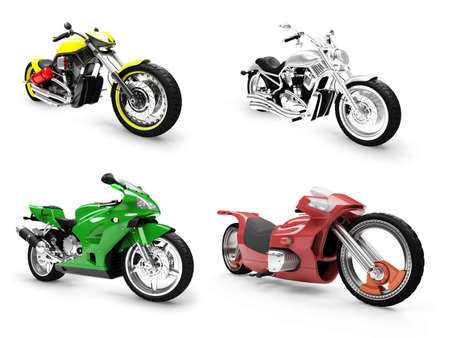 Isolated collection of bikes over white background