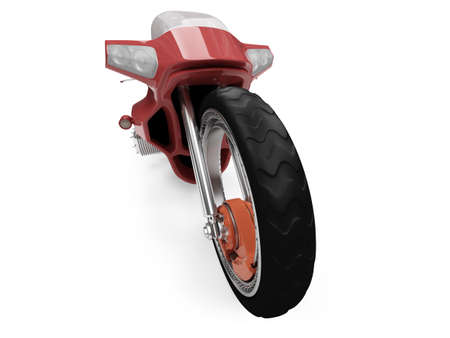 fullthrottle: Isolated red bike front view over white background Stock Photo