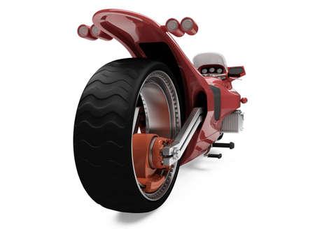 fullthrottle: Isolated red bike back view over white background