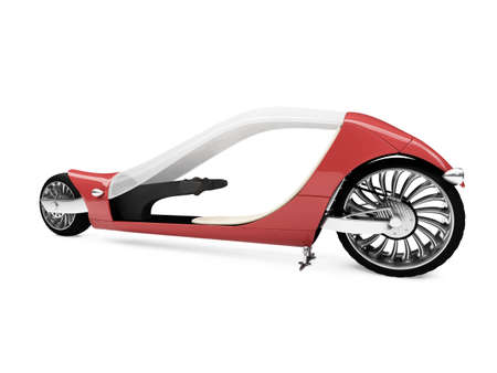 fullthrottle: Isolated future red bike front view over white background