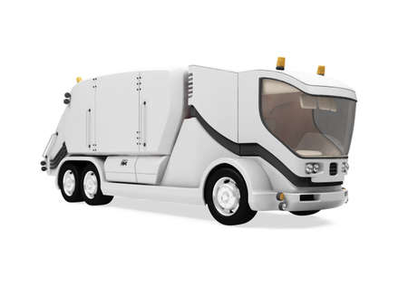 Isolated future trash truck front view over white background photo