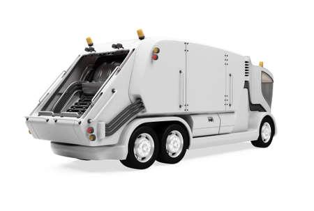 camion de basura: Aislado futuro de camiones de basura frente a ver m�s de fondo blanco Foto de archivo