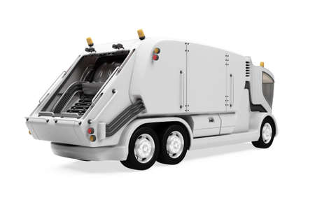 dumptruck: Isolated future trash truck front view over white background