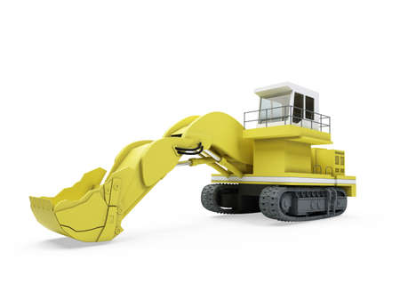 earthmover: Isolated construction truck over white background