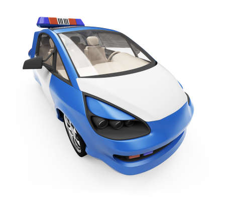 border patrol: Isolated police car over white background Stock Photo