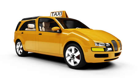 yellow cab: Isolated taxi cab over white background
