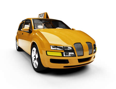yellow taxi: Isolated taxi cab over white background