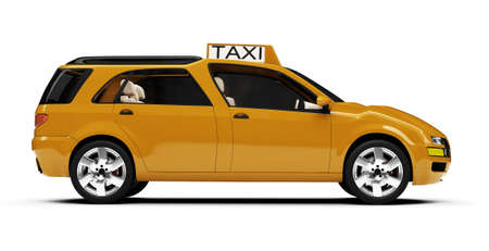 cab: Isolated taxi cab over white background