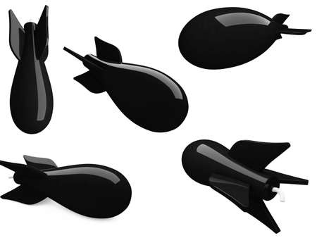 Isolated collection of black bombs over white background photo