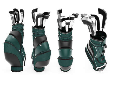 Isolated collection of golf stand bag over white background photo