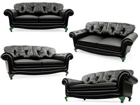 Isolated collage of sofa over white background photo