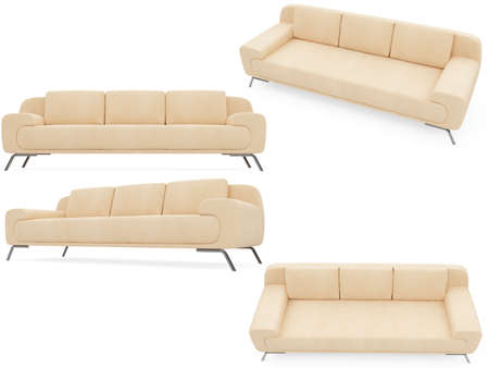 divan sofa: Isolated collage of sofa over white background