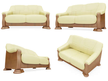 divan: Isolated collage of sofa over white background