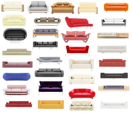 modern sofa: Isolated collage of sofa over white background