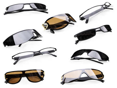 eyewear: Isolated collection of sunglasses over white background Stock Photo