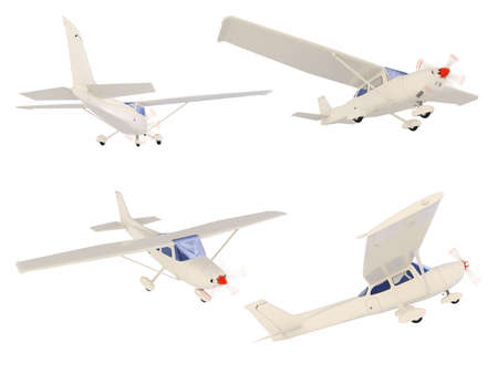 Isolated collection of small airplane
