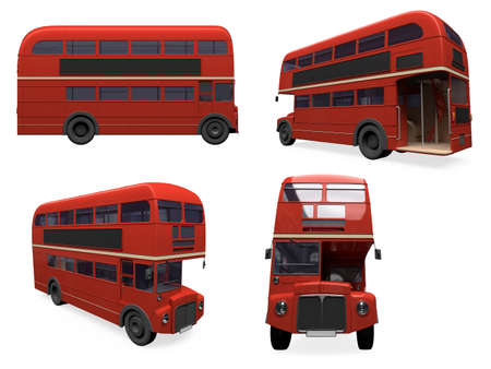 Isolated collection of red bus